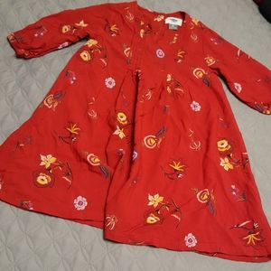 Red flower print tunic style dress